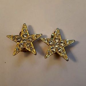 Gold Star Clip-On Earrings with Crystal Accents